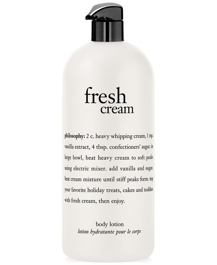 Indulge in philosophy's most-loved fresh cream scent as you moisturize skin with fresh cream body lotion. The moisturizing formula contains macadamia seed and olive fruit oils, shea butter and antioxi