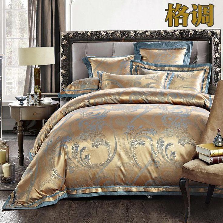 Full Duvet Covers Luxury Jacquard Silk/Cotton Bedding Set