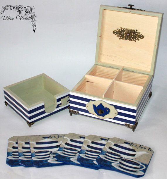 Caja de té exclusivo caja de té de madera con los por UltroViolet