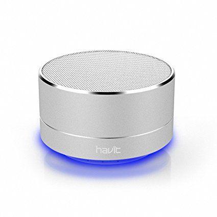 HAVIT 3 in 1 LED Bluetooth Lautsprecher, wireless tragbarer mini Metall Lautsprecher Speaker, starke Bass, Micro SD Karte+ 3.5mm AUX für Smartphones / Tabletten / MP3 / MP4 (Silber)