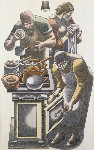 'The Kitchen' (c.1940) by British artist William Roberts (1895-1980). Watercolour, pencil & crayon on paper, 22 x 14.5 in. via Jonathan Clark & Co