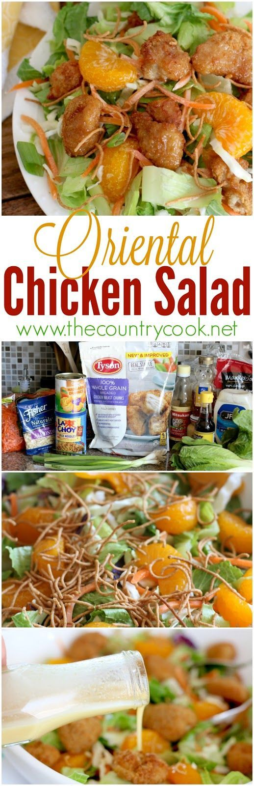 Copycat Applebee's Oriental Chicken Salad recipe from The Country Cook. It's made so easy with Tyson chicken! The dressing is AMAZING. I could eat it on everything! I am in love with making this at home now!