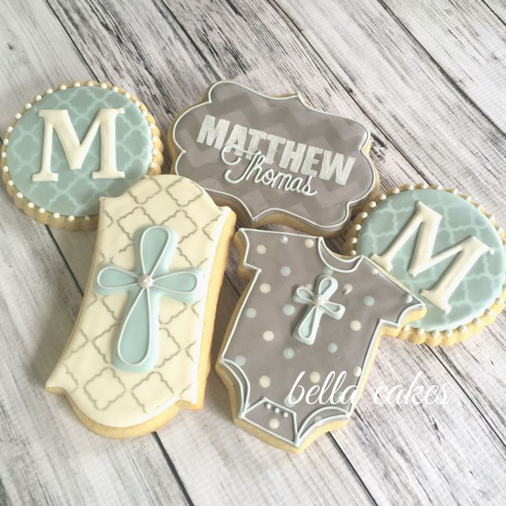 Baby boy baptism cookie favors Bella Cakes