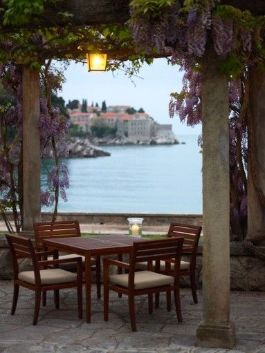 Aman Sveti Stefan Montenegro table with ocean view