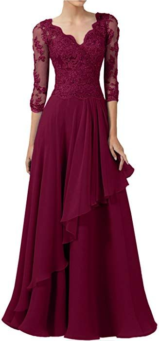 3f2cb481269 DINGZAN 2018 Wedding Guest Mother Of The Bride Dresses With Half Sleeves  Long Prom Gowns 10 Wine at Amazon Women s Clothing store