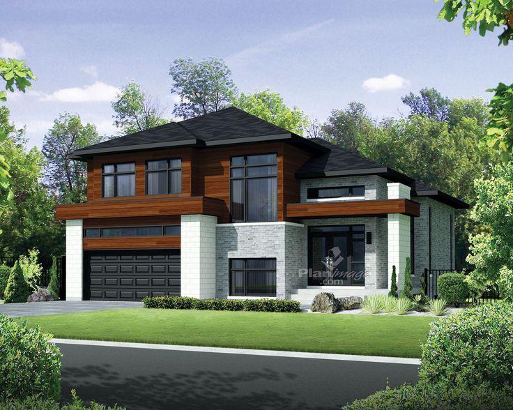Avec son revêtement de bois, de briques et de pierres ainsi que son architecture moderne, cette maison à étage possède un style urbain unique.