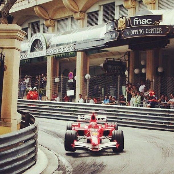 michael schumacher - monaco gp. An F1 car on three wheels has a high probability of lifting off like a plane.