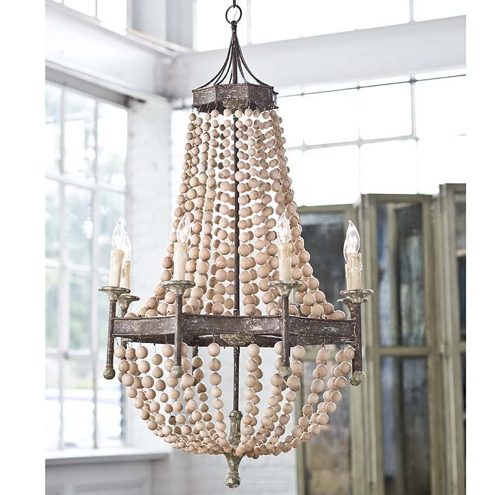 59 best lighting images on pinterest entrance halls foyer and foyers scalloped wood bead chandelier mozeypictures Gallery