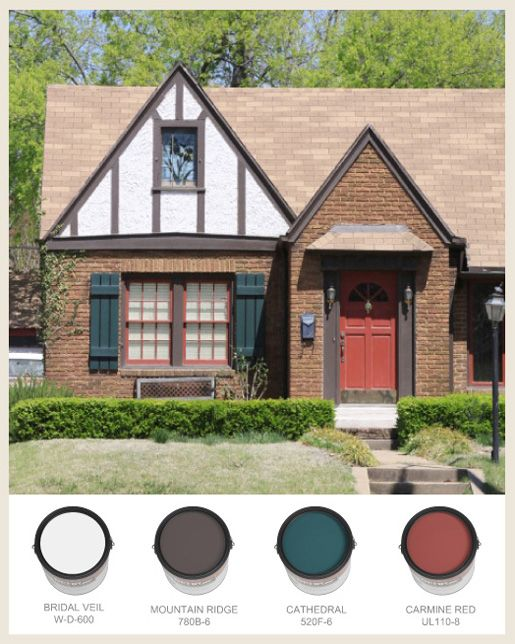 Behr tudor with half timbering and red front door home for Modern tudor house