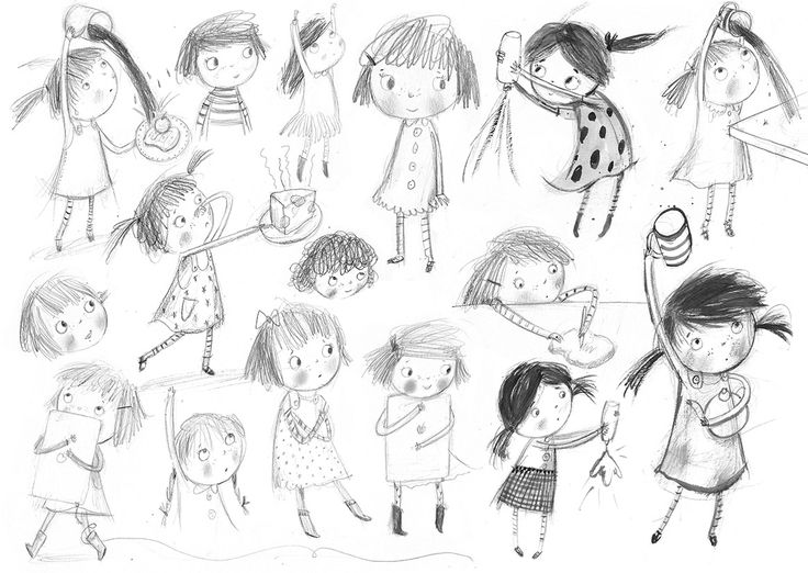 Laura Hughes - Illustration: Some of my initial character sketches for Daddy's...
