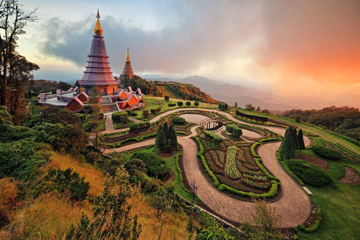 sunset at doi inthanon nationalpark in thailand