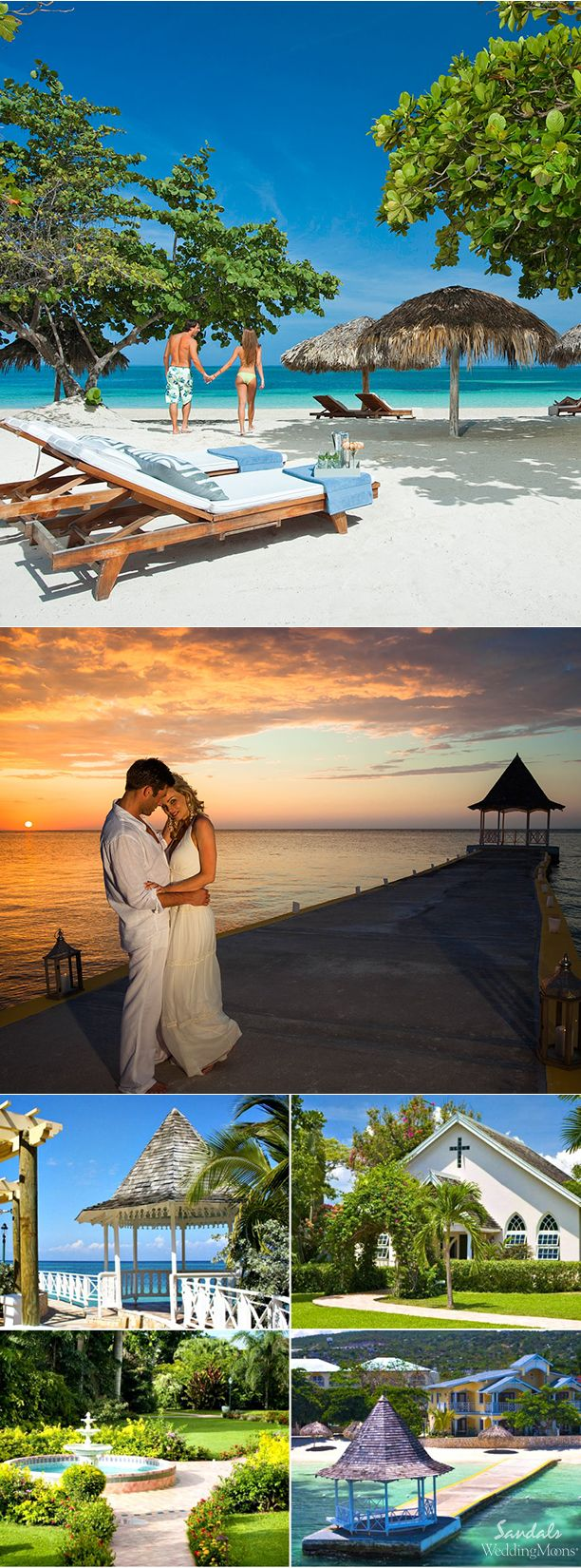 DESTINATION WEDDING LOCATIONS: SANDALS MONTEGO BAY A chapel and open courtyard gazebo are a few of the charming destination wedding locations at Sandals Montego Bay.