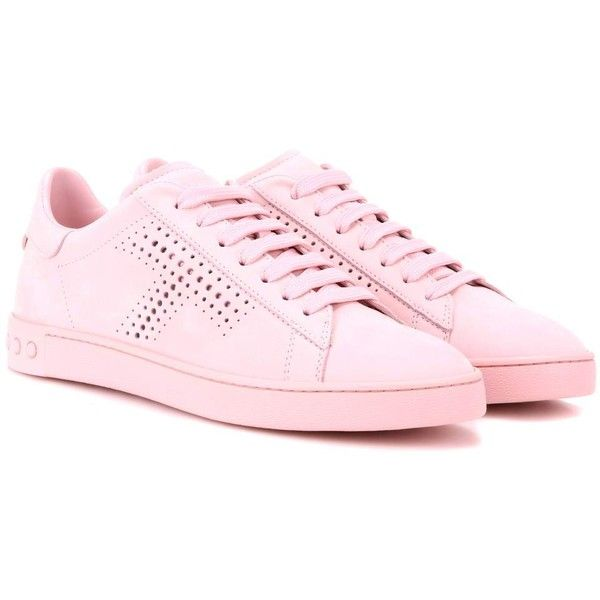 Tod's Suede Sneakers found on Polyvore featuring shoes, sneakers, flats, pink, suede sneakers, pink shoes, tods shoes, suede shoes and suede trainers