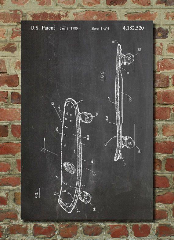 Skateboard 1980 Wall Art Poster