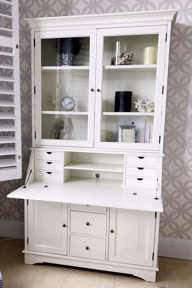 Pottery Barn Graham Secretary Desk With Hutch Large White PICK UP ONLY  | eBay