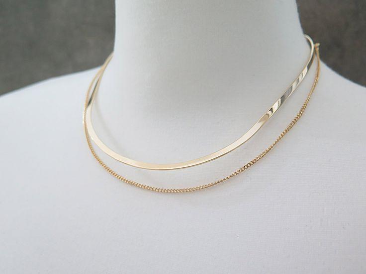 Choker / Chain choker / Layered choker / Double layered necklace / Thin metal choker / Gold choker necklace/Simple Choker / Layered necklace by thinlight on Etsy