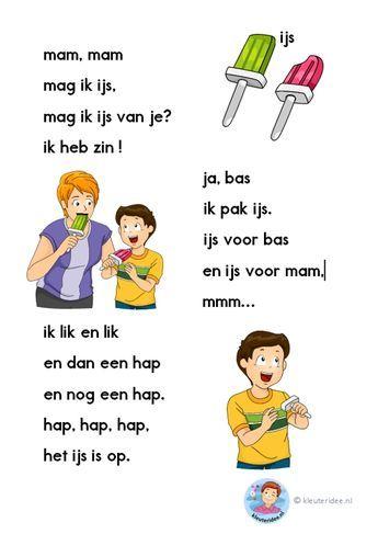 Mag ik ijs? Verhaaltje voor kleuters die beginnen te lezen, AVI-start, kleuteridee.nl, free printable