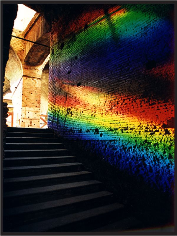 Solar spectrum art! Light installation by Peter Erskine. Uses  prisms, mirrors, and the color spectrum.
