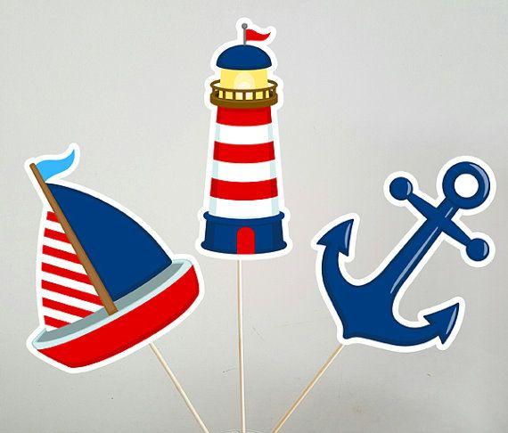 Centros de mesa ducha de bebé náutica náutica por CraftyCue en Etsy