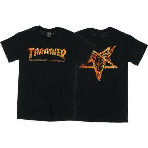 THRASHER PENTAGRAM INFERNO T-SHIRT BLACK