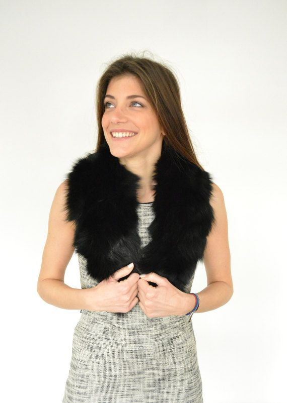 Women's Handmade Black scarf made with genuine Fox Fur by lefushop