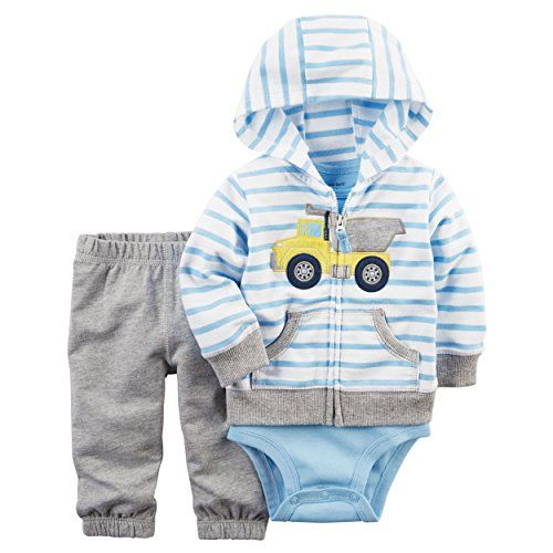 Baby Boy Clothes Carter's Baby Boys 3-Piece Short-Sleeve Safari Bodysuit, Blue Plaid Vest, 6 Months