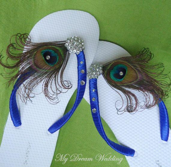 Peacock blue Flip flops with Swarovki Crystals. by MyDreamWedding