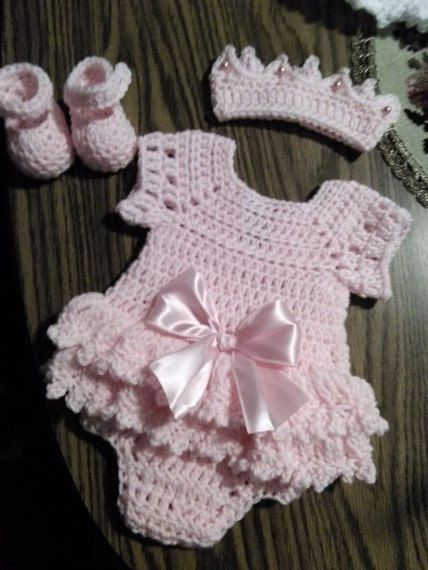 pink onsie crochet baby dress set with crown by BabyBeautiful801 on Etsy https://www.etsy.com/listing/227241490/pink-onsie-crochet-baby-dress-set-with