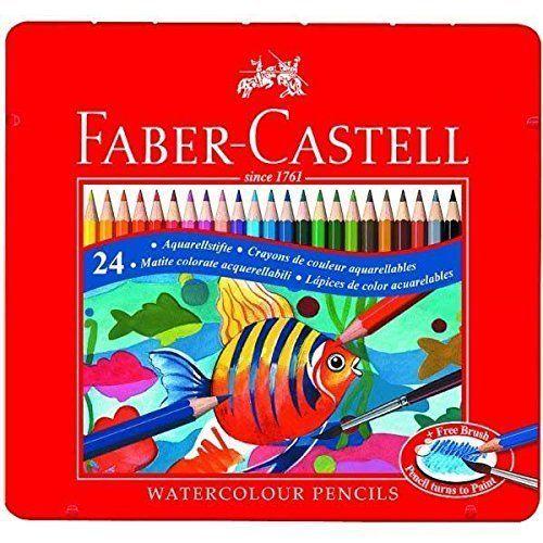 Faber Castell Watercolor Pencil Set of 24 Assorted Color Tin Case Aquarellstifte