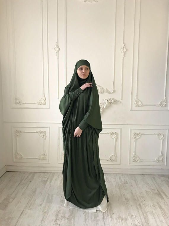 Khaki Long Silk #Khimar, Elegant green #muslim dress, caramel burqa dubai Abaya, traditional hijab,ready to wear #hijab, long #Jilbab,Long burqa