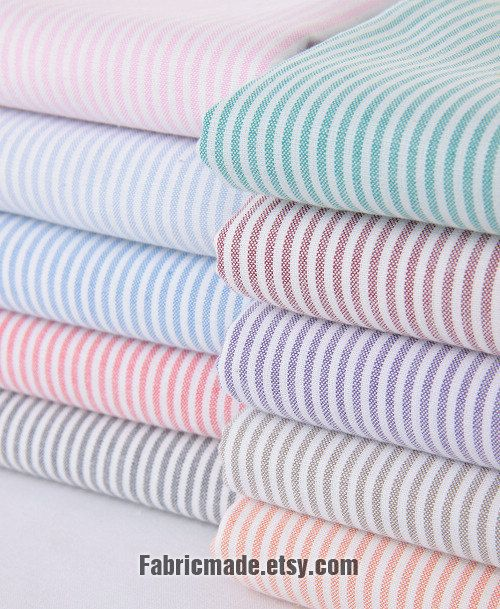 100% Cotton Stripes Fabric Stripes Cotton- Blue Red Black Green Orange Purple Pink Brown Stripe Quilting Cotton Fabric 1/2 yard. $5,80, via Etsy.