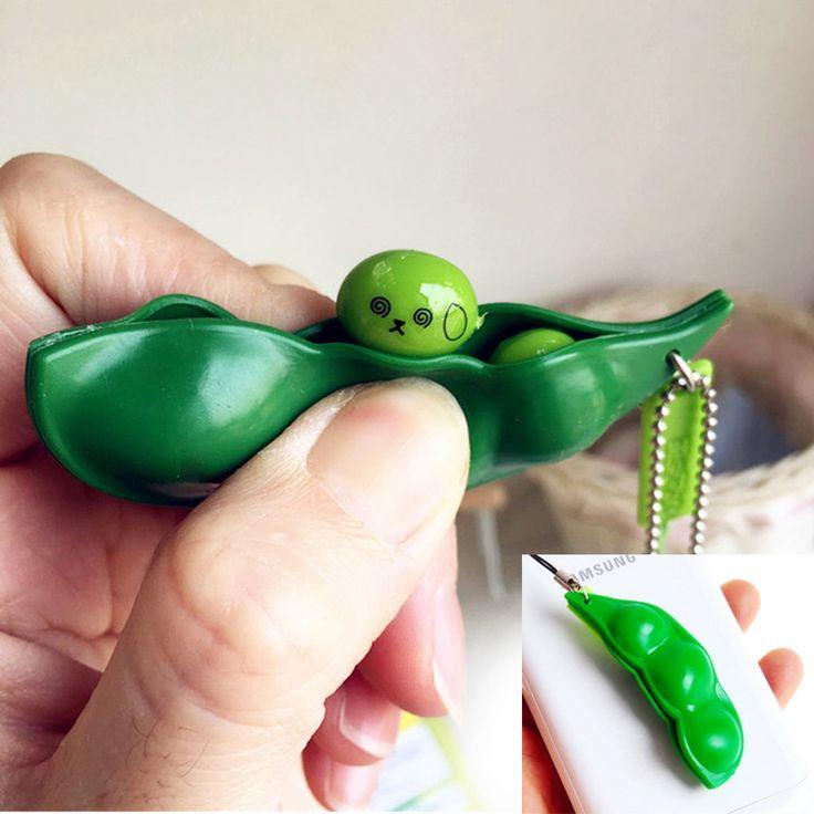 Menyenangkan Licin Mainan Liontin Anti Stres Bola Squeeze Kacang Lucu Gadget