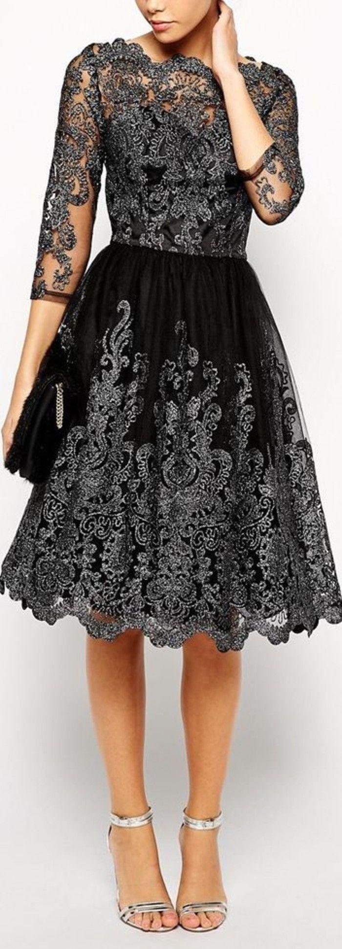 vestidos-de-fiesta-cortos-encaje-negro-bordado