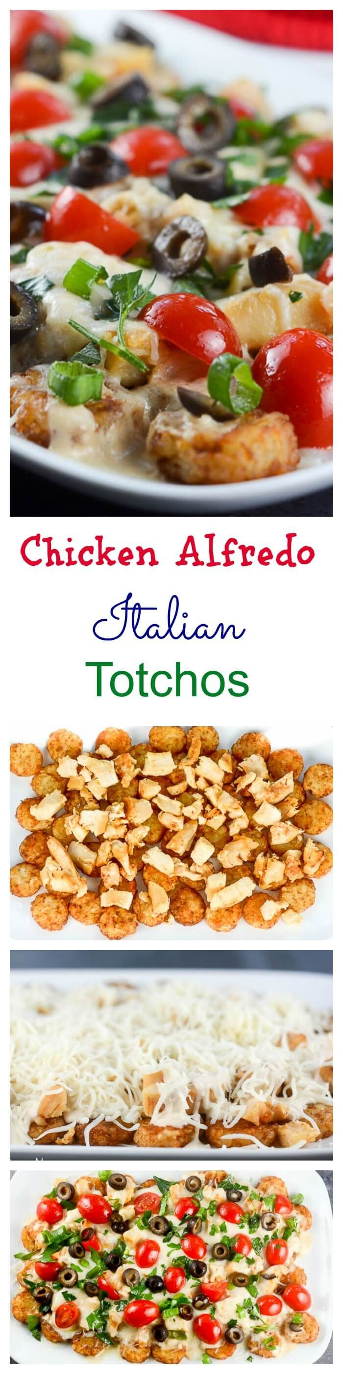 Chicken Alfredo Italian Totchos, inspired by the Italian style nachos at one of our favorite restaurants, use tater tots instead of tortilla or pasta chips to make a quick and easy, kid-friendly weeknight meal. #PregoSauce #ad
