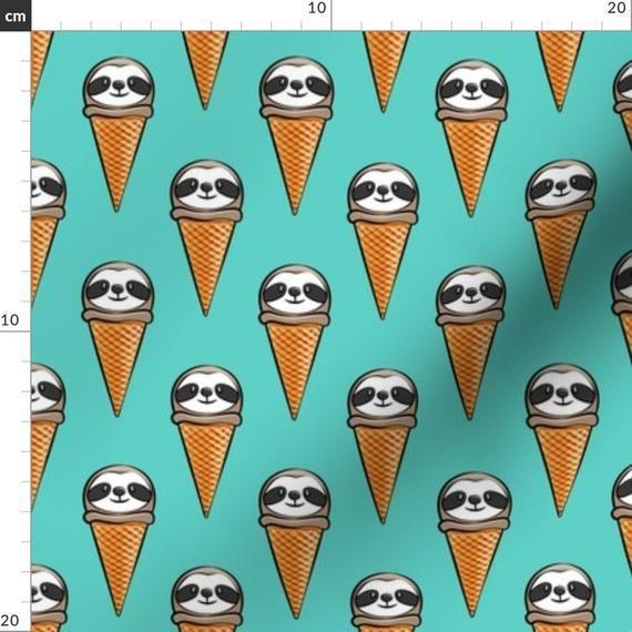 Faultier Stoff – Faultier Eistüten blaugrün von Littlearrowdesign – Faultier …   – Products