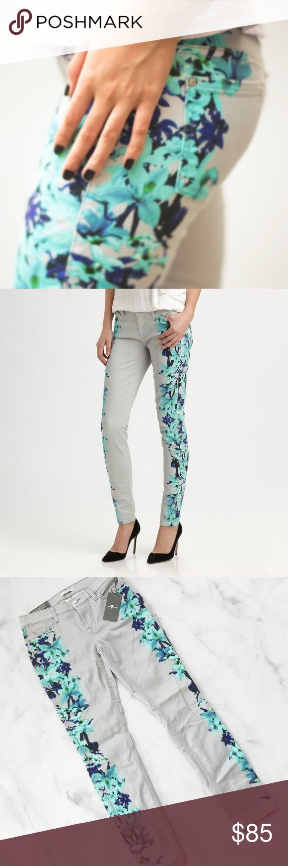 """7 For All Mankind The Skinny in Placement Floral Beautiful floral print skinny jeans from 7 For All Mankind. Light grey with bright blue flowers. Size 29. Brand new with tags! ----------- A pair of stretch-denim skinny jeans in a trendy placement-floral print comes complete with clean, minimal details and signature patches at the back pocket and waistband. Approx. inseam: 30"""" with 10"""" leg opening. Approx. rise: front 8 1/4""""; back 13"""". 7 for all Mankind Jeans Skinny"""