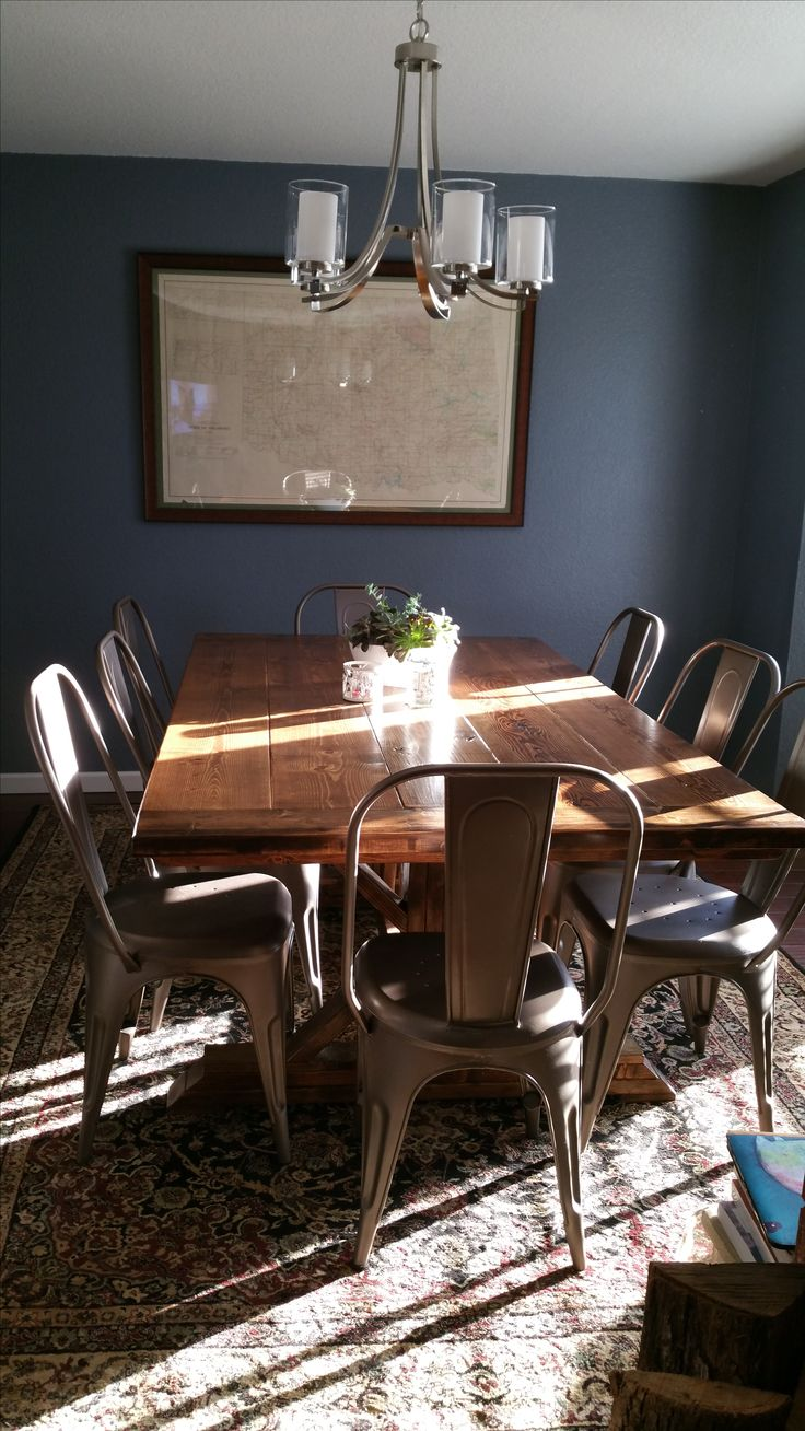 Grey Blue Dining Room. Farmhouse table. Sherwin Williams Storm Cloud paint color.