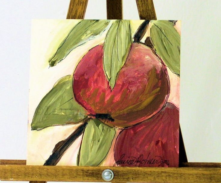 Original Acrylic Painting Red Apples Farmhouse Artwork by Laurie Rohner - Painted Furniture Studio