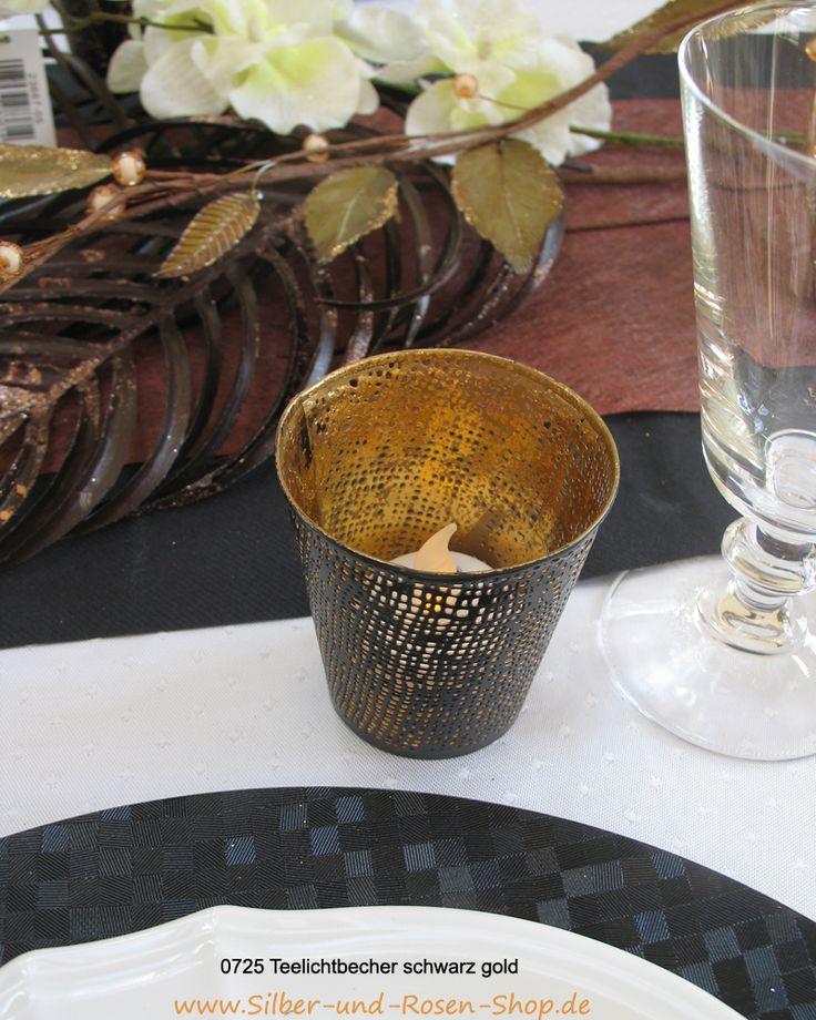 Für ein aufregendes Abendessen.  #Teelicht #Dinnerparty #schwarz #gold