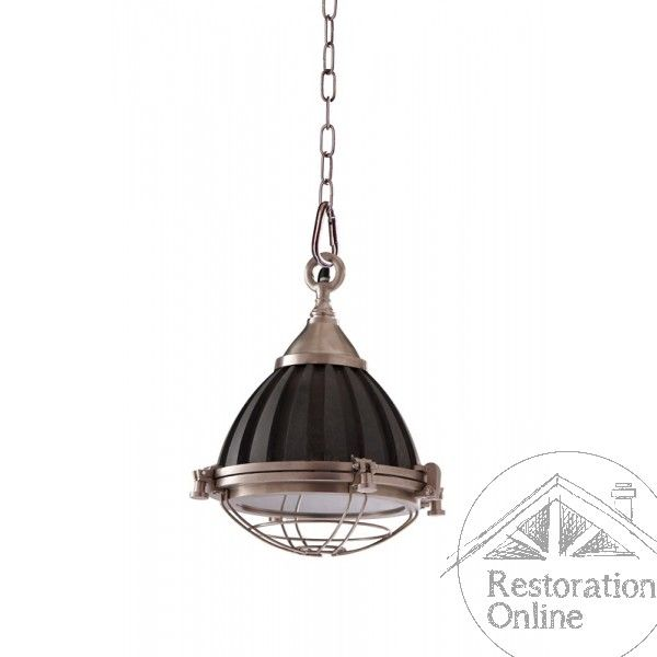 Nickel and Antique Black Emporium Industrial Light   Would look great over a kitchen island.