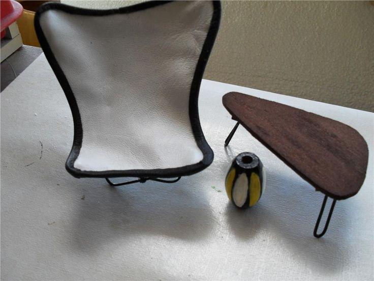 handgjorda 50-tals möbler till dockskåp på Tradera.com - Skala 1:12,