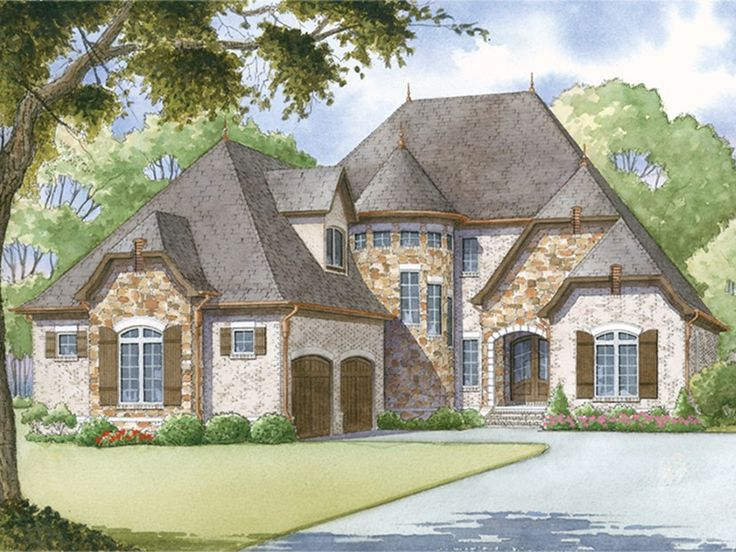 ePlans European House Plan – Stunning Stairway Turret – 2979 Square Feet and 4 Bedrooms from ePlans – House Plan Code HWEPL77640