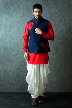 Cotton kurta with silk jacket embellished with resham work from #Benzerworld #Benzer #IndoWesternwear #MensWear