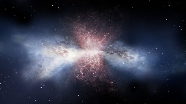 Artist's impression: Red gas pours out of a galaxy with a supermassive black hole at its core.