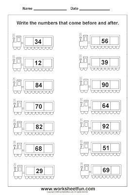 """""""Before & After"""" number worksheet for Kindergarten."""
