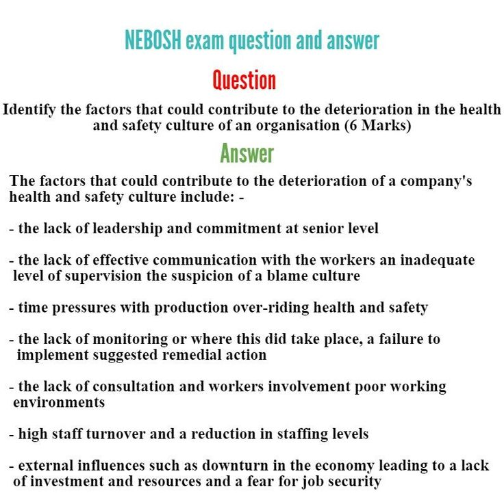 We are presenting  lot of previous year NEBOSH question paper to increase candidate faith. www.greenworldsaudi.com