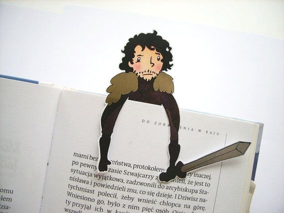 Jon Snow bookmark - Game of thrones, night watch Stark hbo tv show birthday gift for him gift for her