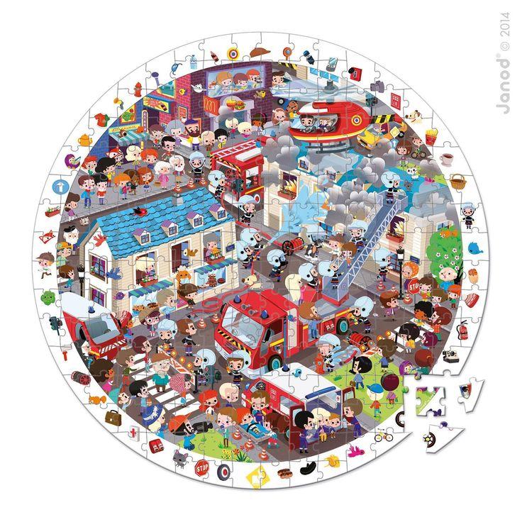 Dětské kulaté puzzle Hasiči Janod v kulatém kufříku 208 dílů od 6 - 9 let