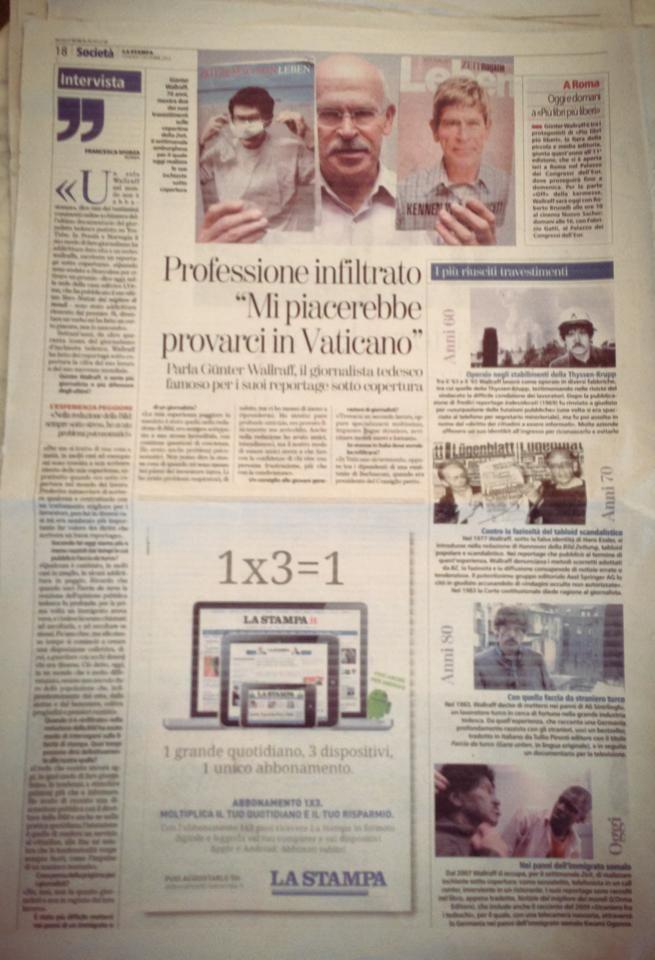 7 Dicembre 2012: su «La Stampa» di oggi, bellissima intervista di Francesca Sforza al nostro Günter Wallraff in occasione della sua partecipazione a Più Libri Più Liberi.