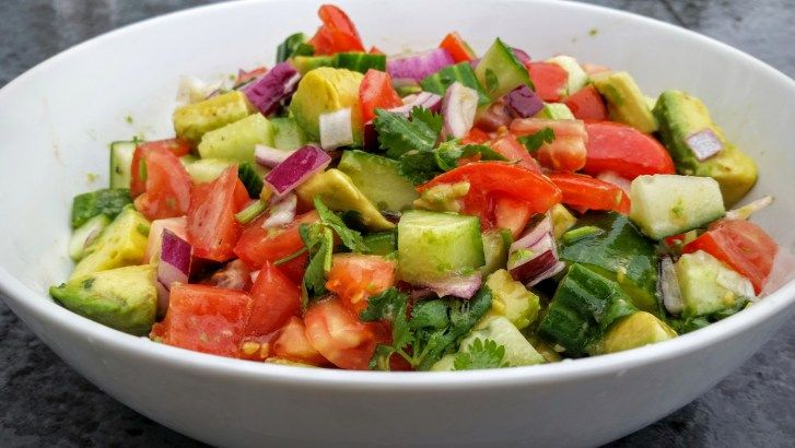 Cucumber Avocado Salad Recipe Salads with avocado, roma tomatoes, red bell pepper, purple onion, english cucumber, chopped cilantro, olive oil, lemon juice, salt, pepper